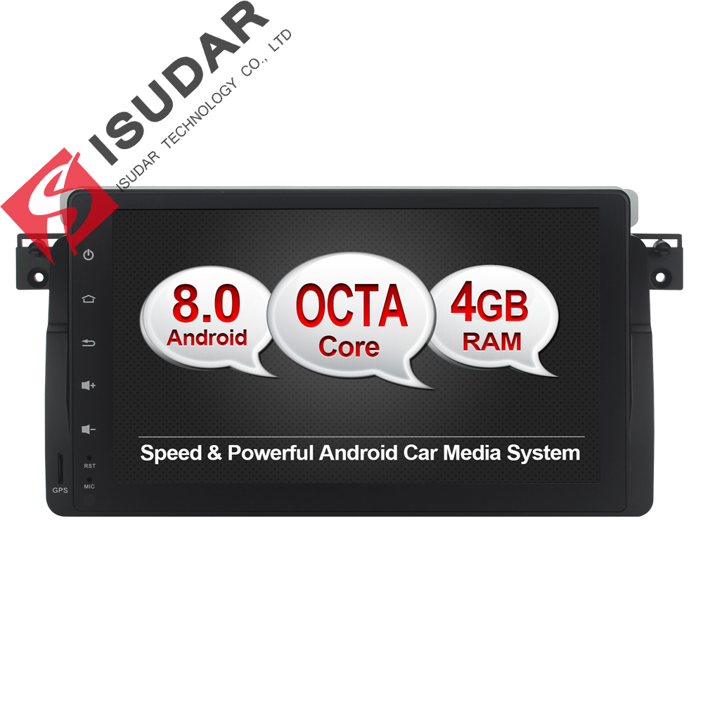 Isudar Car Multimedia Player GPS Android 8.0 Autoradio For BMW/E46/M3/MG/ZT/Rover 75 Octa Core Rear View Camera Radio USB DVR