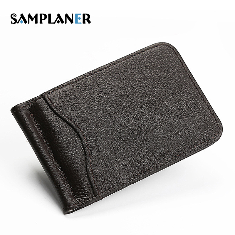 Samplaner Men Money Clips Leather 2 Folded Open Clamp For Money Vintage Mini Wallet With Card ID Case Money Clip Black Brown
