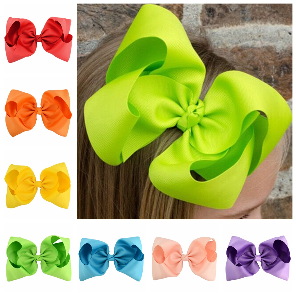 8 Inch 20pcs/lot  Kids Colorful Big Hair Bow Solid  With Clip  Boutique Solid Grosgrain  Hairpins Hair Accessories Hairclips 678