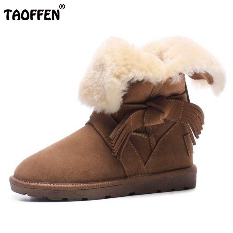 TAOFFEN Women Real Leather Thick Fur Inside Ankle Snow Boots Women Tassels Lace Up Thick Platfrom Shoes Flat Botas Size 34-39 lace up tassels zipper boots