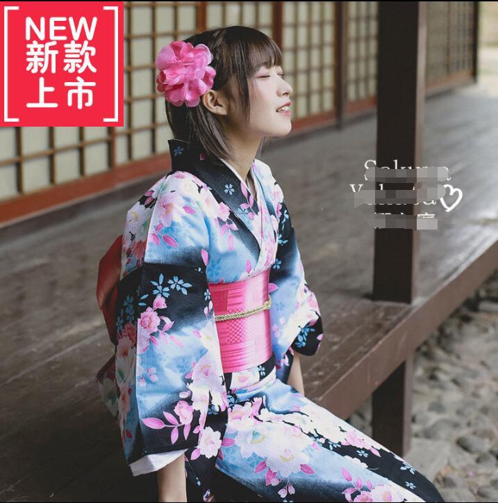 New Woman Cotton Kimono Japanese Summer Kimono Cardigan Kimono Yukata Waistband Headdress Shoes