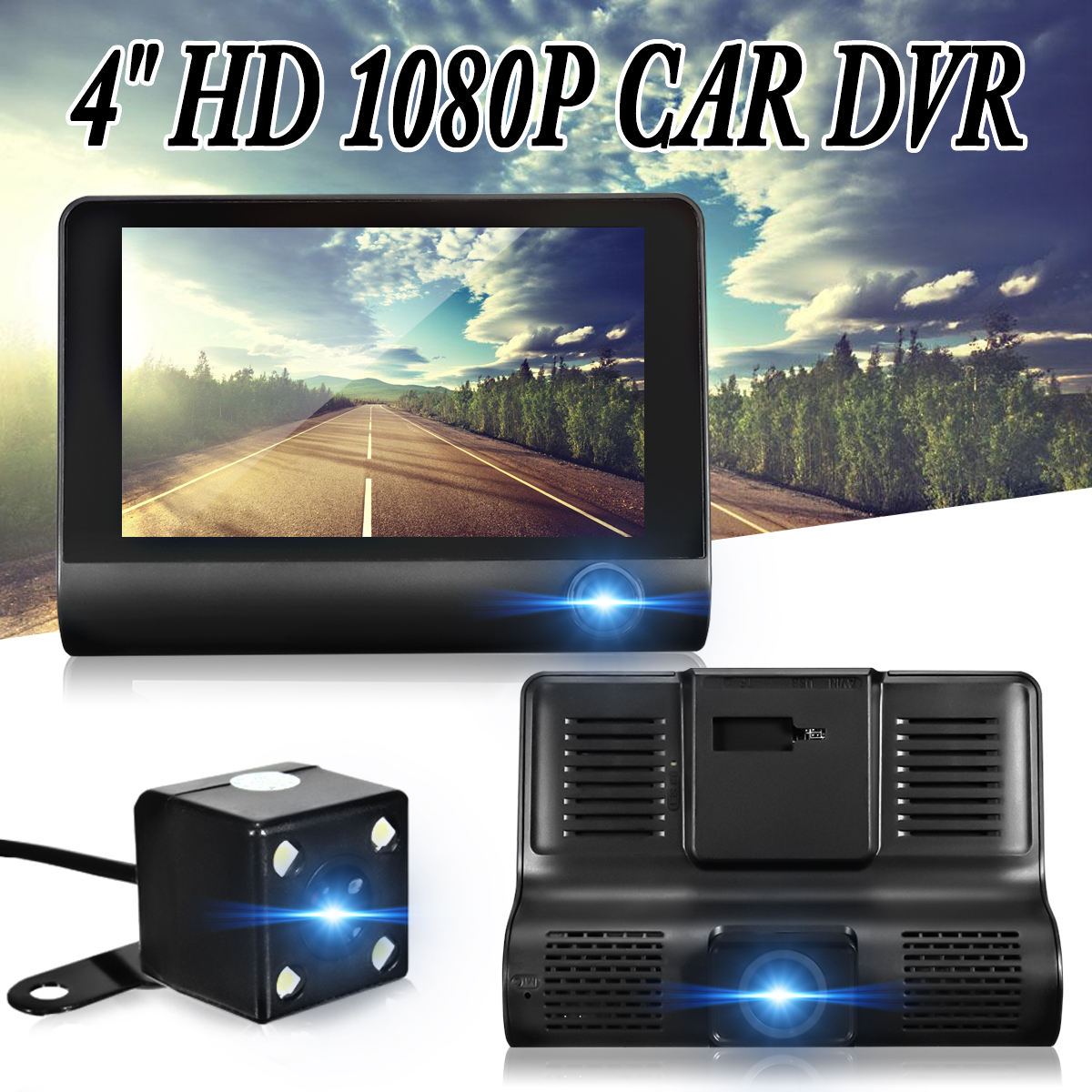 KROAK 4'' 170 Degree 1080P Full HD Car DVR Camera Dual Lens G-sensor Dash Cam Video Recorder DVR Rearview Camera цена