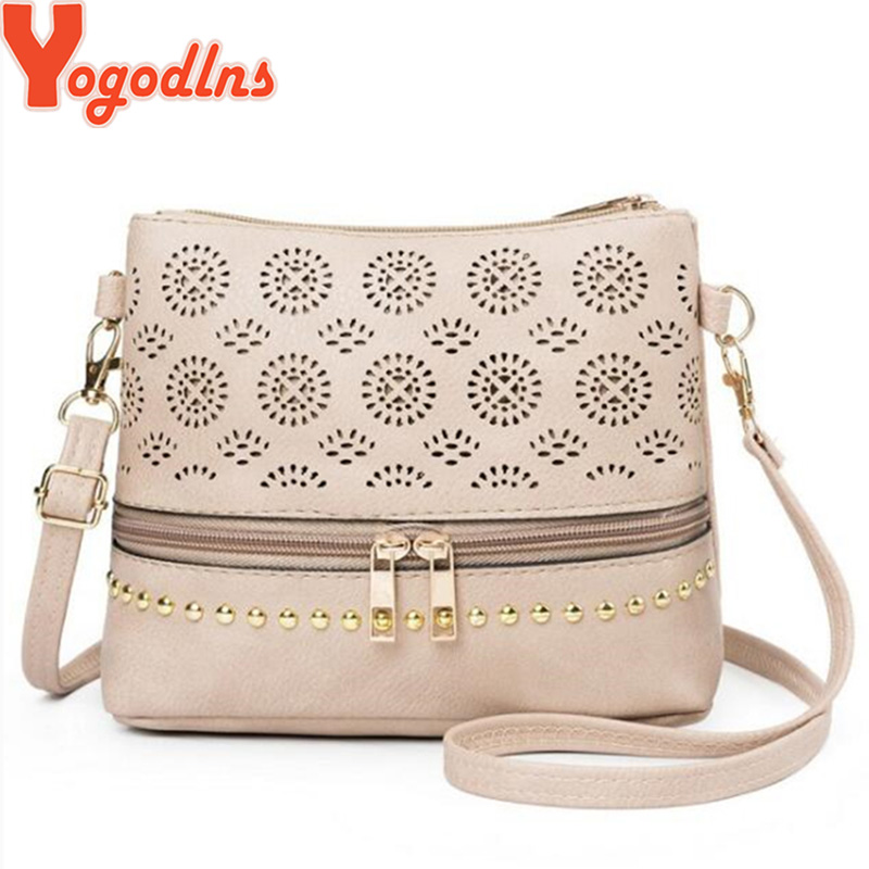 Yogodlns Vintage Hollow Out Women Shoulder Bag High Quality Crossbody Bags For Women Messenger Bags Patchwork PU Handbags
