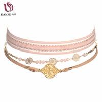 Danze Vintage Handmade Elegant Chain Choker Set Women Circle Leaf Necklace Pendants Fashion Ketting Jewelry Collares de perlas