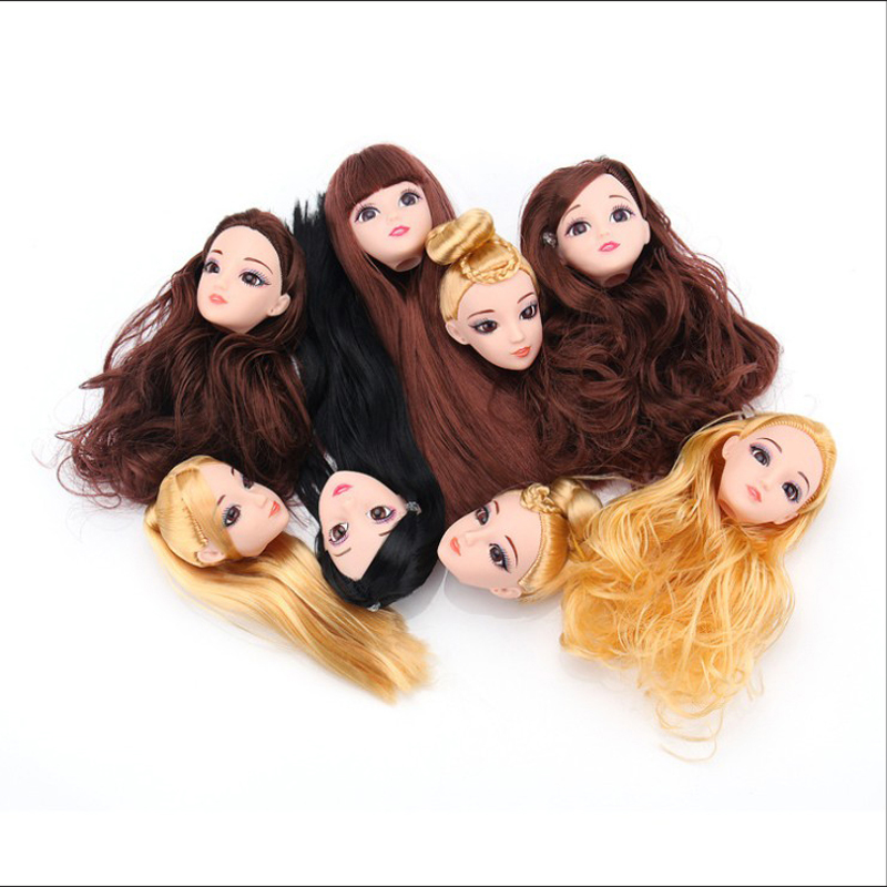 3D Head Brown Curly Hair DIY Accessories For Barbie Doll Best Girl's Gift Child Toy Wt001-1