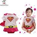 Infantil Romper Do Bebê Recém-nascido Do Bebê Roupas Meninas de Manga Curta Superman Halloween Costume Roupa Infantil Bebes Meninas Vestido Rosa