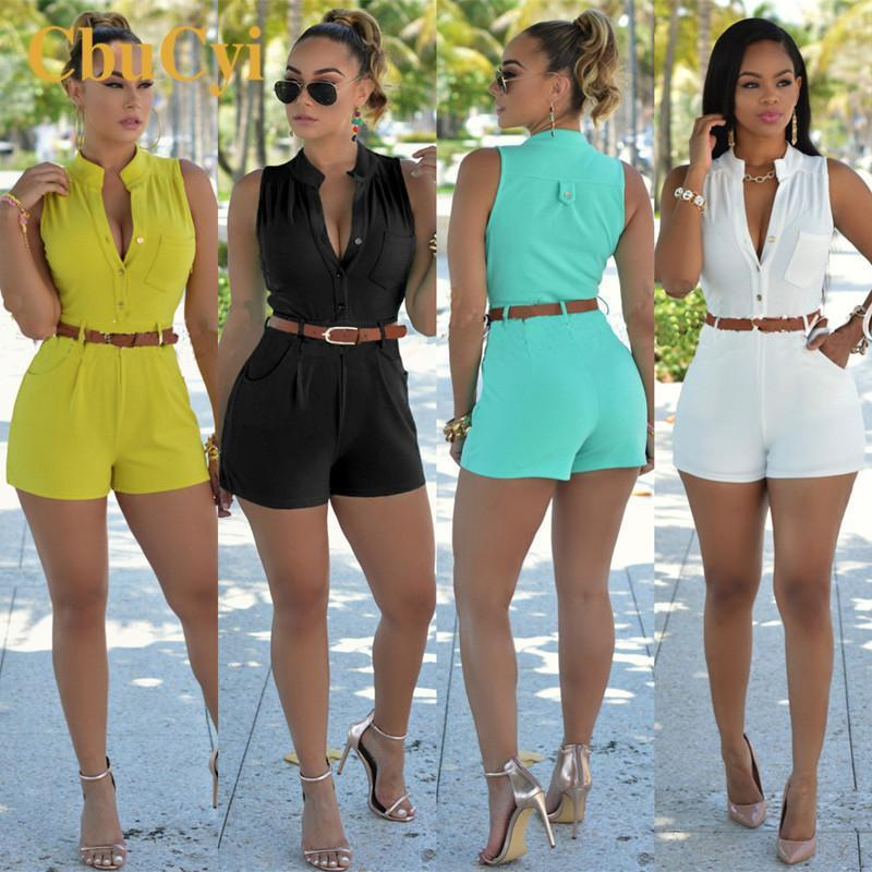 2019 New Style Rompers Womens Casual Jumpsuits Large Size Deep V-neck Overalls For Women Rompers Polyester  Bodysuits With Belt
