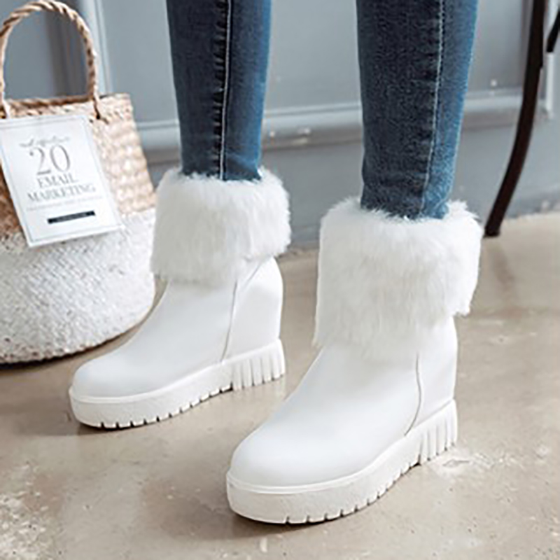 Snow Boots Flat Winter Boots Ankle Boots High Heels Wedges Platform Women Shoes Black White Green Fashion Plush Ladies Shoes women snow boots wedges ankle boots fashion slimming swing shoes plush solid round toe platform shoes lady casual winter boots32