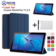 "cover case for Huawei MediaPad T3 10 AGS-W09/AGS-L09 t3 9.6"" smart protective cover skin for Honor Play Pad 2 9.6+free gift(China)"