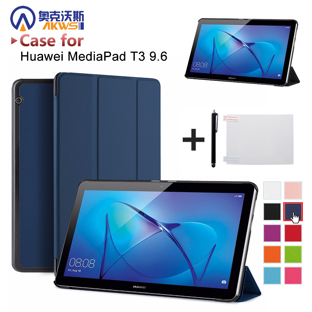 cover case for Huawei MediaPad T3 10 AGS-W09/AGS-L09 t3 9.6 smart protective cover skin for Honor Play Pad 2 9.6+free gift folio slim cover case for huawei mediapad t3 7 0 bg2 w09 tablet for honor play pad 2 7 0 protective cover skin free gift
