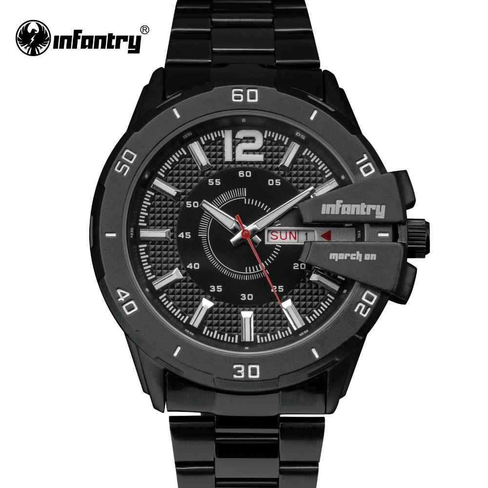 INFANTRY Men Watches Brand Luxury Military Wrist Watches Full Steel Sports Quartz Watch Luminous Male Clock Relogio Masculino 2017 luxury brand men military sports watches men s quartz analog hour clock male stainless steel wrist watch relogio masculino
