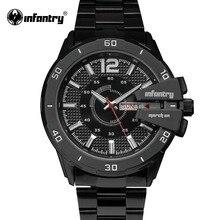INFANTERÍA Hombres Relojes de Marca de Lujo Militar Relojes Completo Acero Cuarzo de los Deportes Reloj Luminoso Reloj Masculino Del Relogio masculino