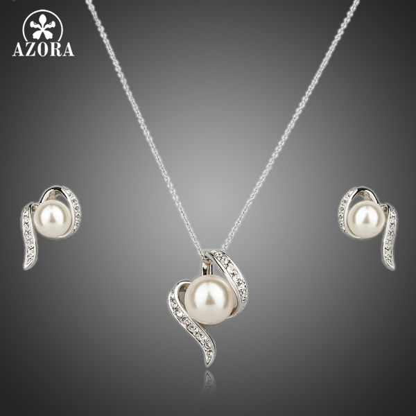 AZORA White Gold Color Stellux Austrian Crystal Imitation Pearl Stud Earrings and Necklace Set TG0062 azora lotus rose gold color 1 pair stud earrings and 1pcs necklace fashionable jewelry set for women cute christmas gift tg0273