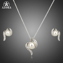 AZORA White Gold Color Stellux Austrian Crystal Imitation Pearl Stud Earrings and Necklace Set TG0062(China)