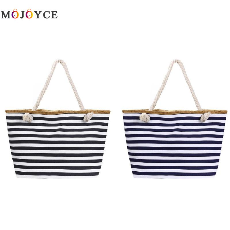 Casual Striped Women Shoulder Bag Big Capacity Summer Canvas Beach Tote Female Travel Handbag Bolsa Feminina