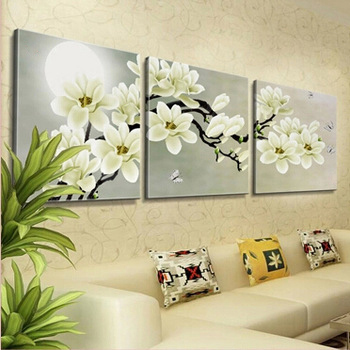 3 Panel Orchid Flowers Wall Art Pictures Wall Flower Canvas Painting ...