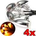 4pcs Chrome Motorcycle Bullet Turn Signal Indicator Light For Harley Chopper 10mm