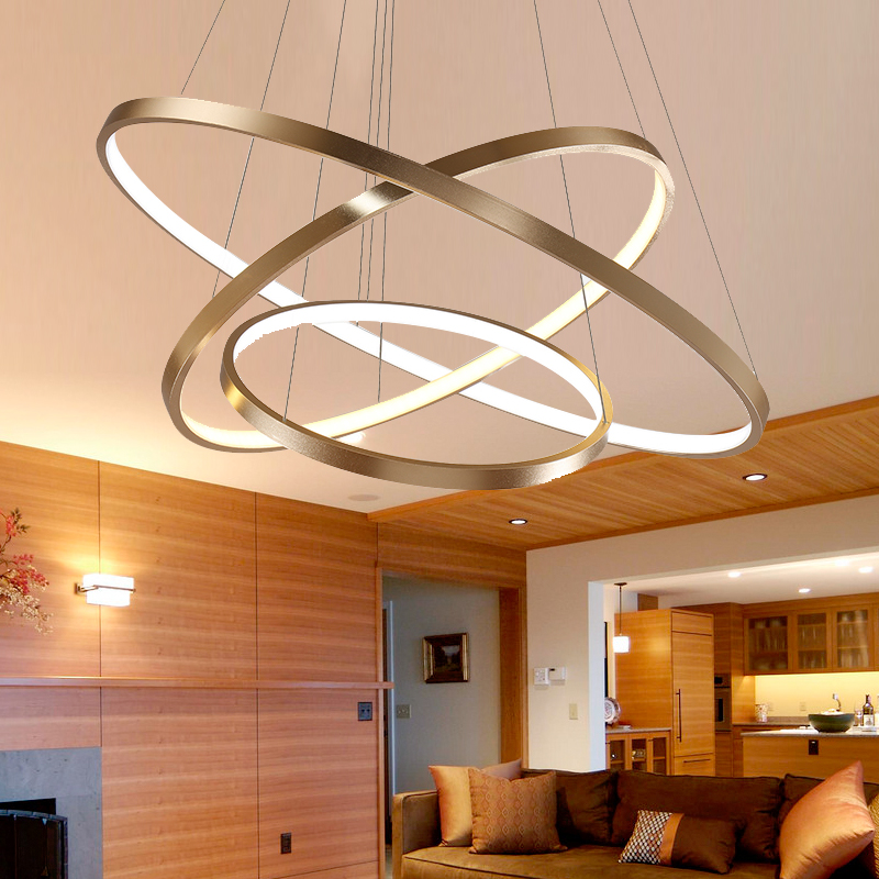 40CM 60CM 80CM Modern Pendant Lights For Living Room Dining Room Circle Rings Acrylic Aluminum Body LED Ceiling Lamp Fixtures modern pendant lights for living room dining room dimming circle rings oval aluminum body led lighting ceiling lamp fixtures
