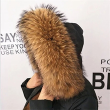 天然アライグマの毛皮スカーフ センチファッションコートセータースカーフ襟ネックキャップ 冬リアルラクーン毛皮の襟 100%