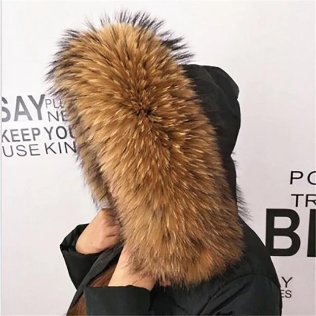 Kış gerçek rakun kürk yaka 100% doğal rakun kürk eşarp 70CM moda ceket kazak atkılar yaka boyun kapağı