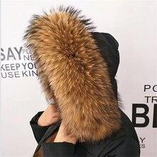 Winter Echt Waschbären Pelz Kragen 100% Natürliche Waschbären Pelz Schal 70CM Mode Mantel Pullover Schals Kragen Neck Cap