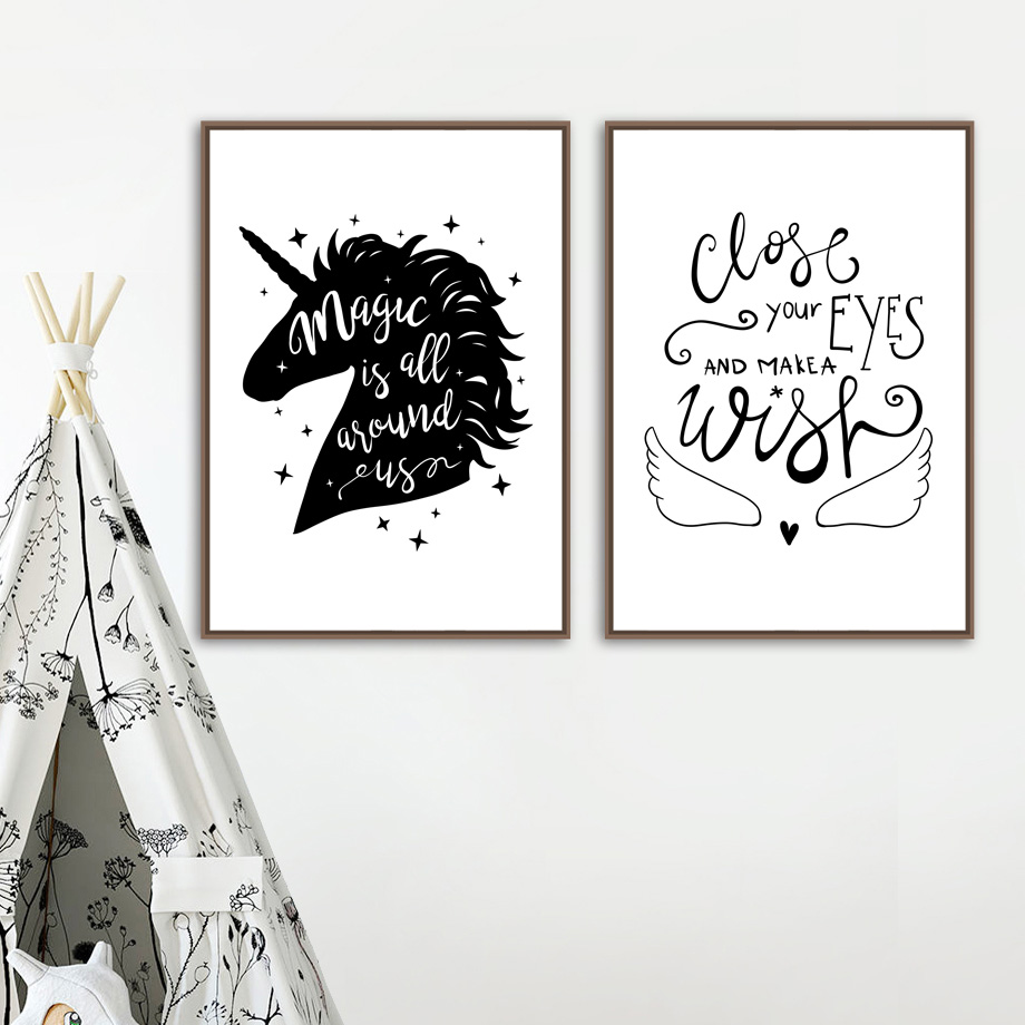 Magic Unicorn Quotes Wall Art Canvas Painting Black White Posters And Prints Cartoon Canvas Art