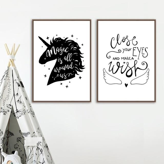 Unicorn Quotes Magic Unicorn Quotes Wall Art Canvas Painting Black White Posters  Unicorn Quotes