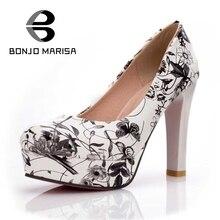 BONJOMARISA Imprimé floral Femmes Pompes Printemps Été À Enveloppé Plate-Forme Chaussures Pour Femme De Mariage De Partie De Bal Grande Taille 33-44