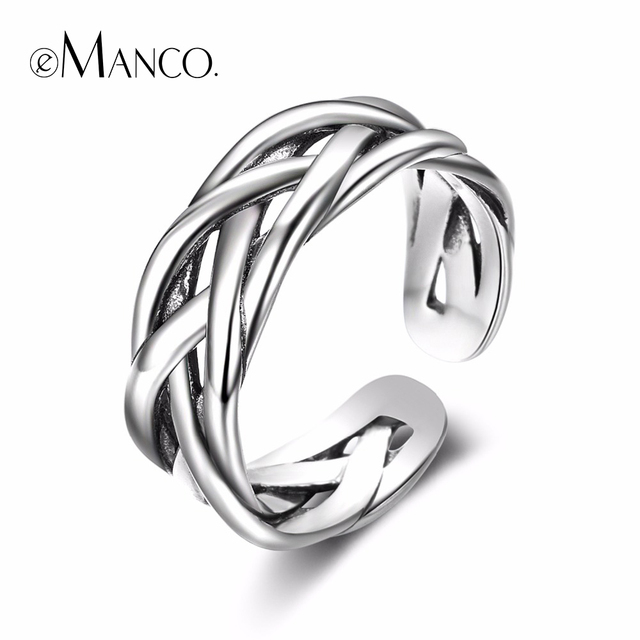 e-Manco Adjustable Size Popular 925 Sterling Silver Weaving Knot Rings for Women & Men Brand Fine Jewelry