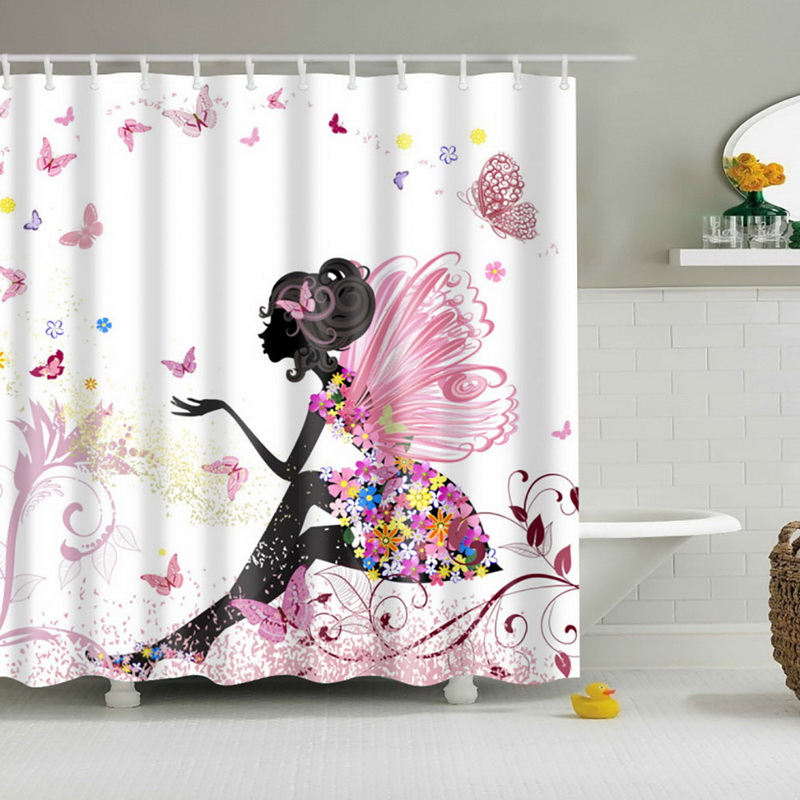 High Quality Bathroom Shower Curtains Woman Shadow Shower Curtain Waterproo Polyester Fabric Custom Bathroom Curtain Hooks