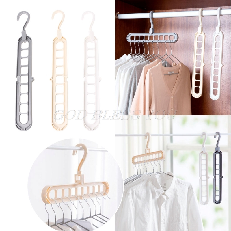 3D Space Saving Magic Clothes Hanger With Hook Cabinet Organizer 360 Rotation