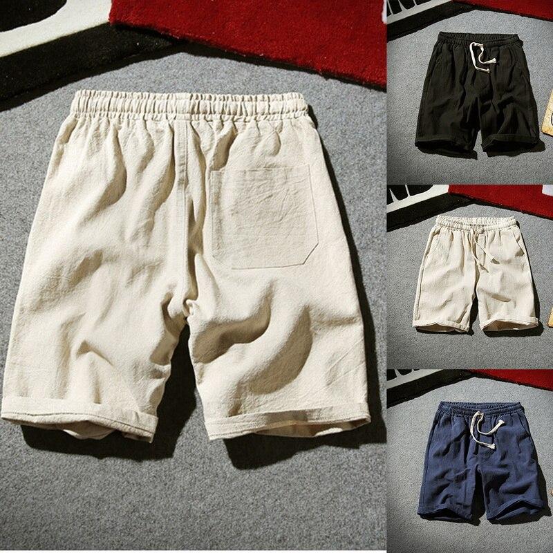 Summer Faux Cotton Linen Shorts 2019 Mens Casual Shorts Comfort Homewear Shorts Men Solid Short Pants Oversize 5XL Beach Shorts