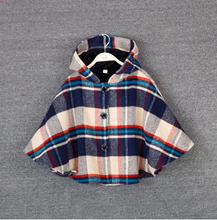 HOT 2016 high quality New winter han edition girl Grid in the velvet children hooded cloak