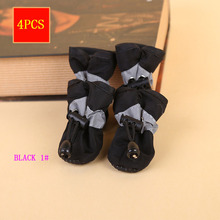 HOT 4Pcs/set Pet Dogs Winter Shoes Rain Snow Waterproof Booties Socks Rubber Anti-slip Shoes For Small Dog Puppies Soft Footwear reflective dog shoes socks winter dog boots footwear rain wear non slip anti skid pet shoes for medium large dogs pitbull