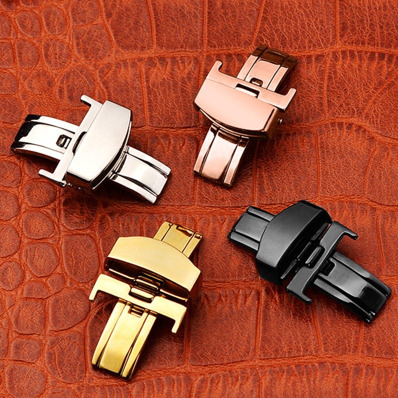 18mm 20mm 22mm Stainless Steel Butterfly Deployment Folding clasp Buckle Metal Lock for Leather Watch Band Strap Rose Gold image