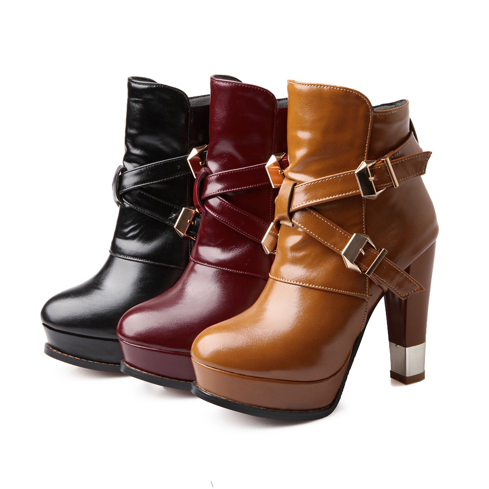 ARMOIRE New  Black Wine Red Yellow Women Sexy Ankle Riding Platform Boots Ladies Shoes High Heels Buckle AS32-1 Belt  Fashion brand new hot sales women nude ankle boots red black buckle ladies riding spike shoes high heels emb08 plus big size 32 45 11