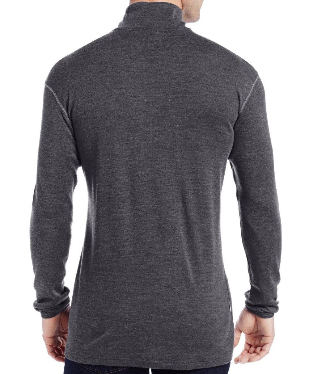 Człowiek nowy marka 100% czystej grzywny Merino wełna mężczyźni średniej wagi 1/4 Zip na zewnątrz drzwi warstwa bazowa ciepłe termiczne długie z długim rękawem ubrania koszula wierzchołki w Koszulki od Odzież męska na  Grupa 2