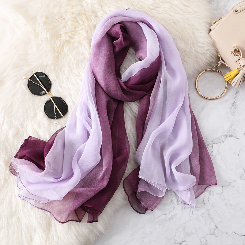 140*170cm large size shawls and wraps 2020 new silk scarf women fashion pure color gradation pashmina woman winter scarves hijab image