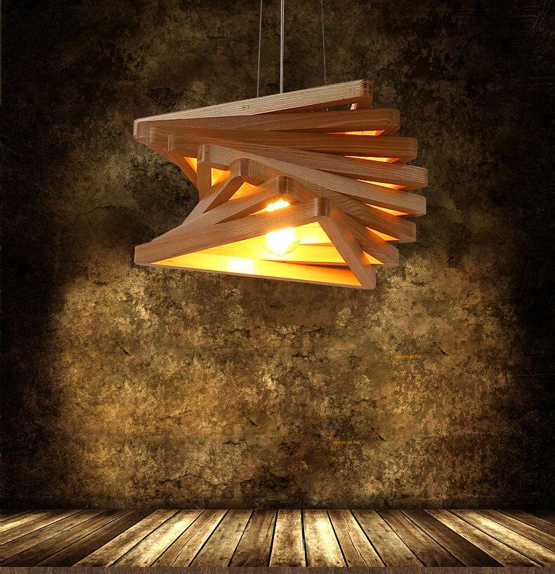 Vintage style américain Triangle cadre loft pendentif LED chêne clair bois rétro lampe E27 AC 110/220 V cordon suspension luminaire