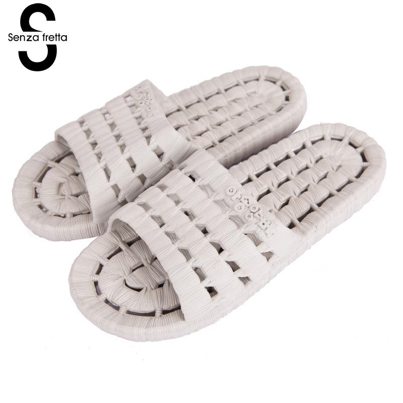 Senza Fretta New Men Massage Slippers Summer Home Non-slip Flat Bottom Hollow Slippers Eva Household Slippers Men Shoes Big Size 50%off men shoes summer eva massage foam beach flat sandals non slip bathroom household room indoor home house shoes
