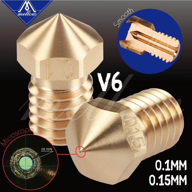 Mellow High Precision Brass 0.1/0.15MM V6 Nozzles For 3D Printer Hotend Nozzle For M6 Thread E3D V6 Nozzle Hotend Titan Extruder