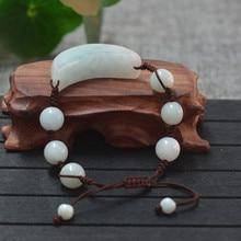 Pulsera de Jade Natural de Un Grado Nuevo Estilo Artesanal Luna Forma Pulsera 10mm Ronda Beads Bangles Mujeres Jades Joyas De Piedra