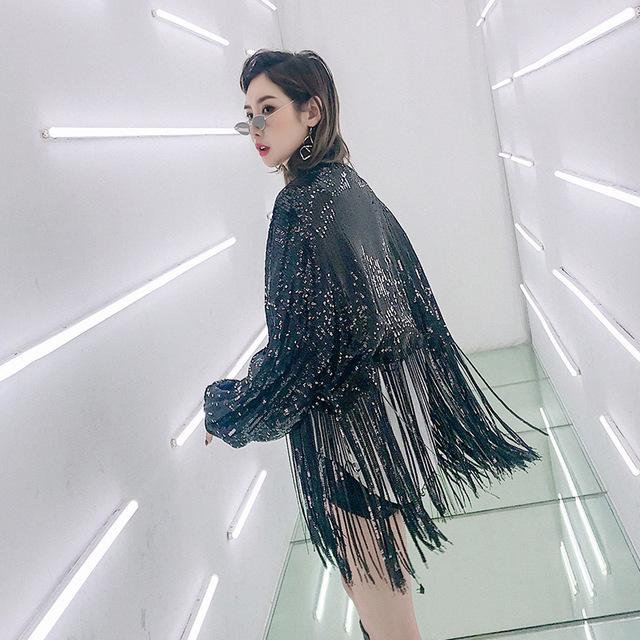New Motorcycle Tassel Coat girl platform singer coats Punk Loose Jacket Long