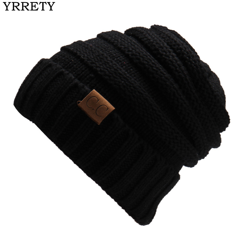 YRRETY 2018 New Fashion Folds   Beanies   Warm Woolen Warm Winter Hats For Woman   Skullies     Beanies   Solid Knitted Elastic Letter Cap