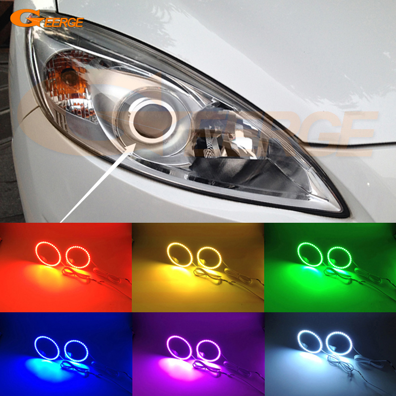 For Mazda 5 Mazda5 2012 2013 2014 2015 Excellent Angel Eyes Multi-Color Ultra bright RGB LED angel eyes kit Halo Rings for lifan 620 solano 2008 2009 2010 2012 2013 2014 excellent angel eyes multi color ultra bright rgb led angel eyes kit