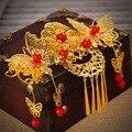 Невеста головной убор красный костюм бахромой волос вставляется гребень для волос украшения Китайский свадебное платье cheongsam аксессуары