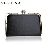 SEKUSA Fashion Women Pu Bag Diamonds Clutch Evening Bag Metal Gold Chain Shoulder Handbags Small Messenger Party Wedding Purse