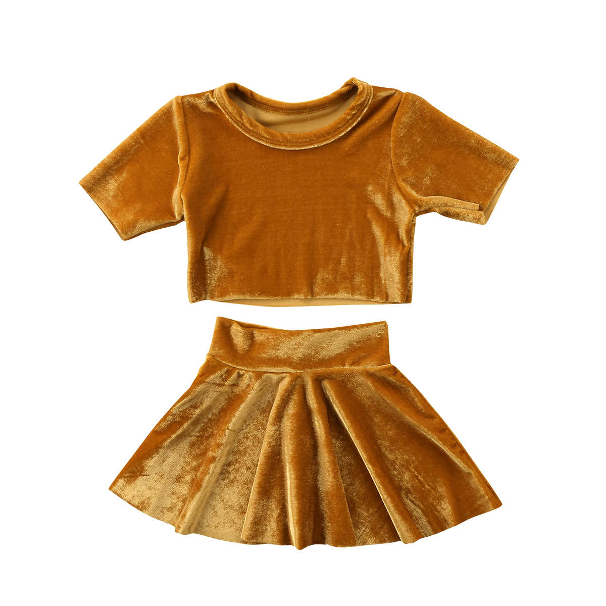 3f7bc5199f2 Vintage Kids Baby Girls Velvet Clothes Set Gold Crop Top T-shirt+Skirts  Princess