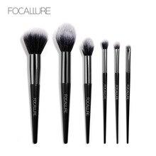 FOCALLURE 6 PCS Makeup Brush Set Powder Blush Brushes Eye shadow Loose  Wooden Cosmetics Foundation Tools