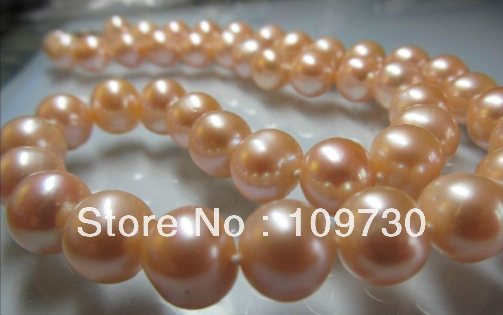 """Jewelry 001793 beautiful 11-12MM Natural South Sea Pink Pearl Necklace 18"""" 14KGP gold clasp"""